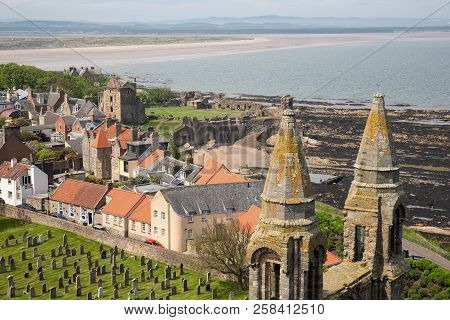 Aerial View Ruin And Graveyard Cathedral Of St Andrews, Scotland