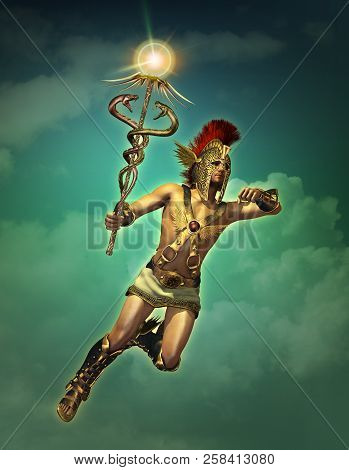 3d computer graphics of a depiction of Hermes at daytime poster