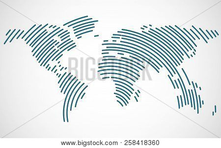 Abstract World Map With Lines. World Stripes Map