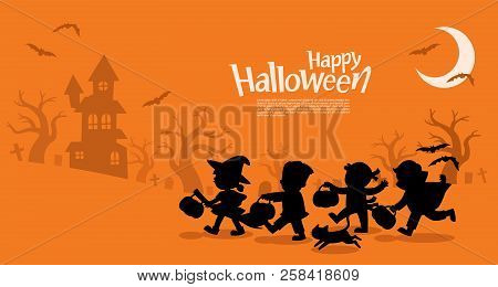 Happy Halloween. Children Dressed In Halloween Fancy Dress To Go Trick Or Treating. Template For Adv