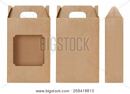 Box Brown Window Shape Cut Out Packaging Template, Empty Kraft Box Cardboard Isolated White Backgrou