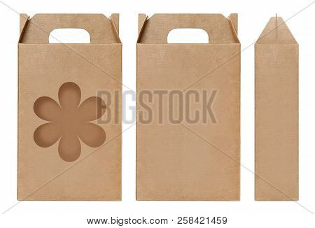 Box Brown Window Flower Shape Cut Out Packaging Template, Empty Kraft Box Cardboard Isolated White B
