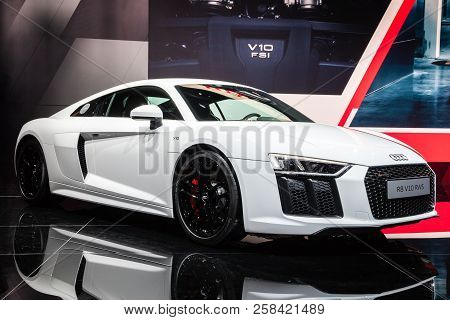 Frankfurt, Germany - Sep 12, 2017: New Audi R8 V10 Rws Sports Car Showcased At The Frankfurt Iaa Mot