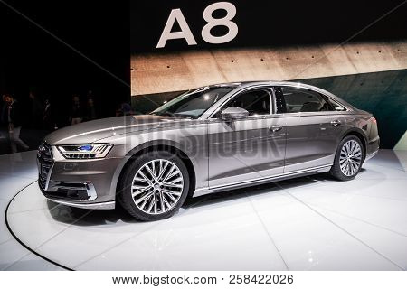 Frankfurt, Germany - Sep 13, 2017: New 2018 Audi A8 L Quattro Car Showcased At The Frankfurt Iaa Mot