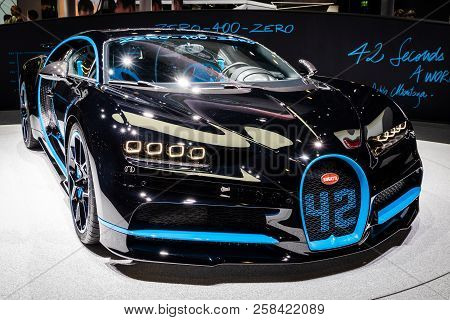 Frankfurt, Germany - Sep 13, 2017: Bugatti Chiron 42 Seconds Edition Sports Car Showcased At The Fra