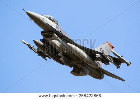 Spangdahlem, Germany - 29 Aug, 2018: Armed Us Air Force F-16c Fighter Jet Plane From 480th Fighter S
