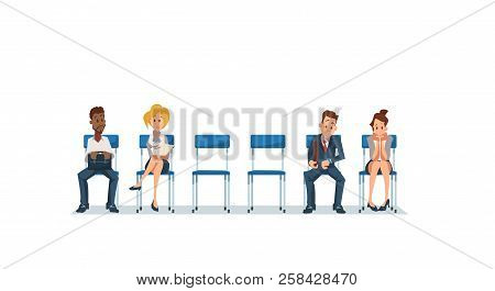 Job Interview And Recruiting. Human Resources Interview Recruitment Job Concept. People Sitting In O