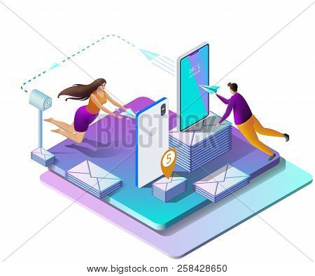 Sending Messages. Email Inbox, Electronic Communication. Man And Woman Send Sms. Communication Techn