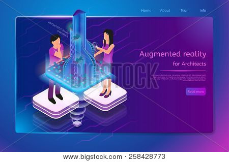 Augmented Reality For Architects Isometric Web Banner With Man And Woman Working On Architectural Pr