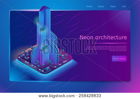 Neon Architecture Isometric Web Banner With Modern Futuristic Skyscraper With Trees On Terraces And