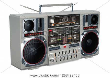 Retro Boombox 1980s On The Wooden Table, 3d Rendering