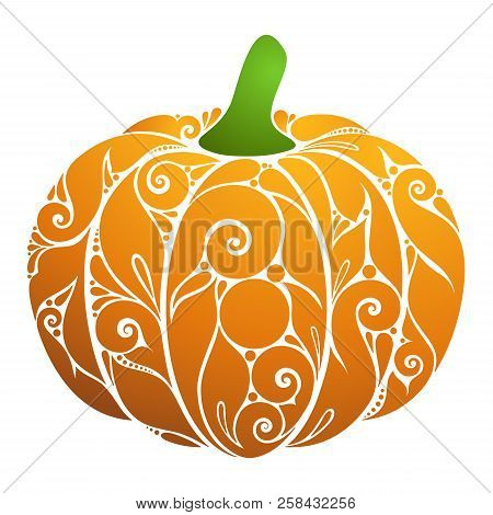 Colored Decorative Pumpkin. Fall Plant With Floral Ornament. Design Element For Happy Thanksgiving A
