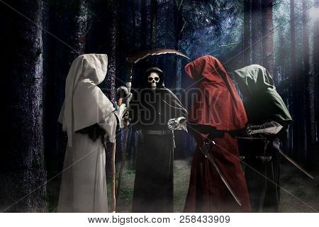 Four Apocalypse Knights During Judgment Day In Horror Forest