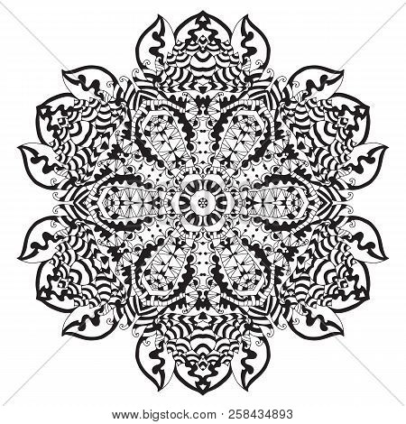 Ethnic Round Ornament. Hand Drawn Mandala. Orient Traditional Background. Lace Circular Ornament.  E