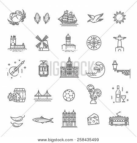 Portugal Travel Icons Set. Outline Thin Icons