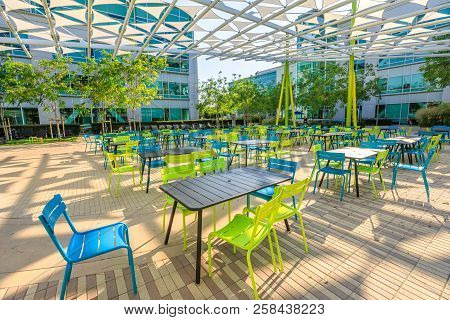 Sunnyvale, California, United States - August 13, 2018: Outdoor Dining Area For Google Employees At