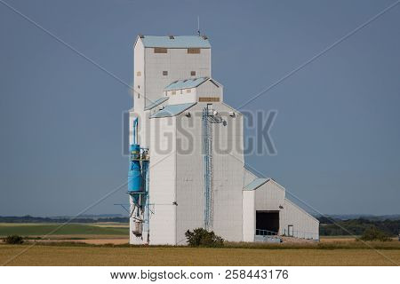 White Grain Elevator On The Canadian Prairie