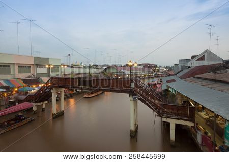 Floating Market At Night In Amphawa, Samut Songkhram , Thailand.