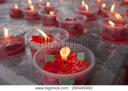Candle Light In Chinese Temple At Kunming , China