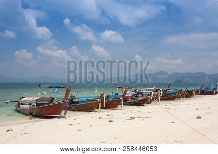 Traditional Thai Longtail Boat At  Poda  Island ,thailand