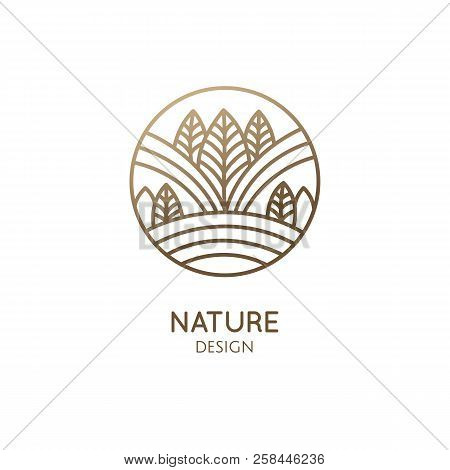 Abstract Forest Logo Template - Mountains, Trees And Feelds. Vector Round Icon Of Landscape. Linear