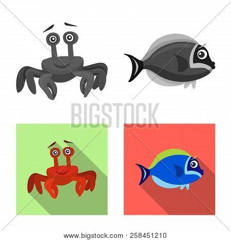 Vector Design Of Sea And Animal Icon. Set Of Sea And Marine Stock Symbol For Web.