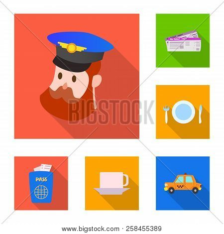 Isolated Object Of Airport And Airplane Icon. Set Of Airport And Plane Stock Vector Illustration.