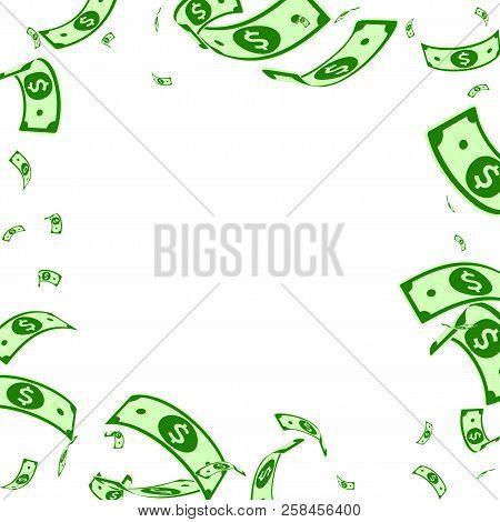American Dollar Notes Falling. Random Usd Bills On White Background. Usa Money. Comely Vector Illust