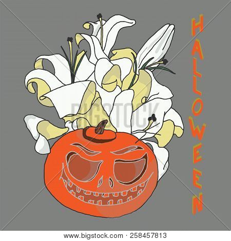 Pumpkin For Halloween. Jack-o-lantern With Lily Flowers And Halloween Inscription In Isometric Proje