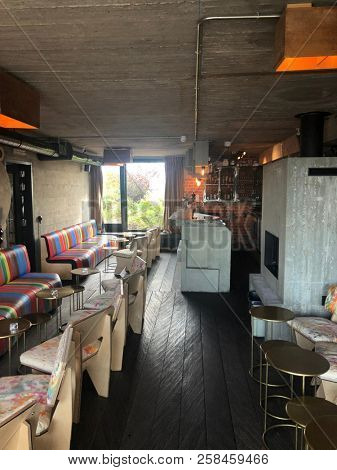 Brussels, Belgium, , September 8th, 2018 : Hotel design bar at the Jam hotel, Brussels center