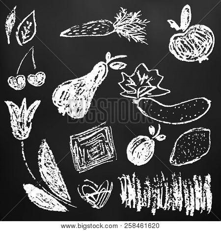 Doodle Logos. I Love Organic. Vector Illustration For Menu Of Restaurants, Packaging, Advertising. S