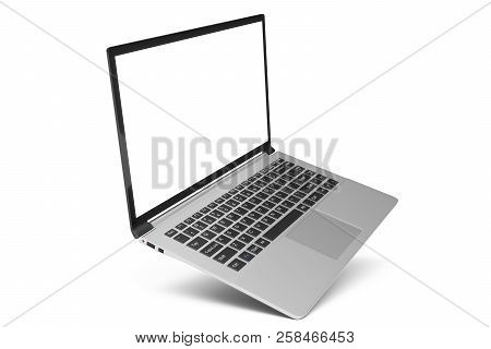 3d Illustration Laptop Isolated On White Background. Laptop With Empty Space, Screen Laptop At An An