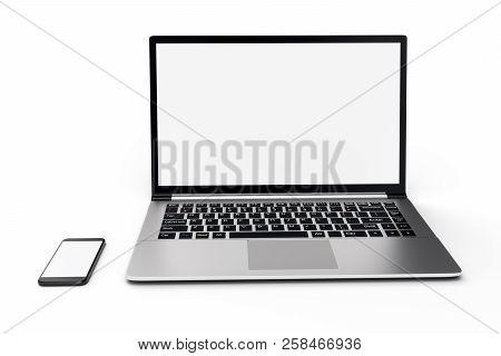 3d Illustration Desktop Computer Blank Mock Up. Glossy Laptop Computer Mock Up. Modern Computer Mock