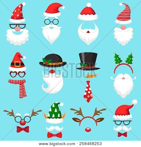 Christmas Cartoon Hats. Xmas Santa Hat, Elf Cap And Reindeer Photo Mask. Santas Beard And Mustaches