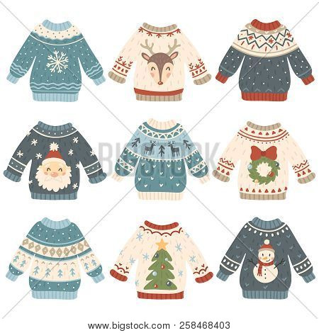 Ugly Christmas Sweaters. Cartoon Cute Wool Jumper. Knitted Winter Holidays Sweater With Funny Snowma