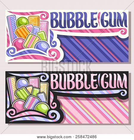 Vector Banners For Bubble Gum With Copy Space, Heap Of Colorful Chewing Bubblegums And Fruit Gummy C
