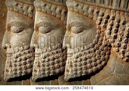 Persepolis Is The Capital Of The Ancient Achaemenid Kingdom. Iran. Ancient Persia. Bas-relief Carved