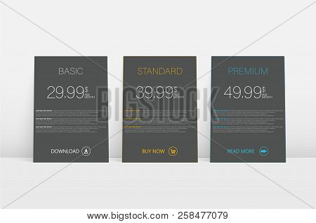 Modern Business Template With Blue Hosting Tariff On White Background For Concept Design. Business C