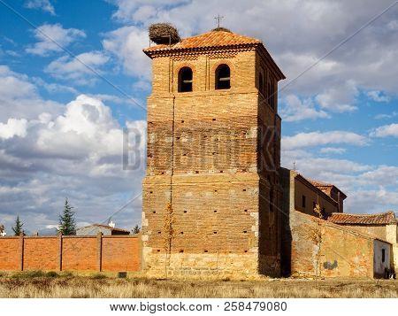 Stork Nest On The Bell Tower Of The Church Of San Bartolome - Calzadilla De Los Hermanillos, Castile