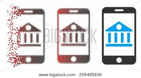 Mobile Bank Icon With Face In Dispersed, Dotted Halftone And Undamaged Entire Versions. Points Are G