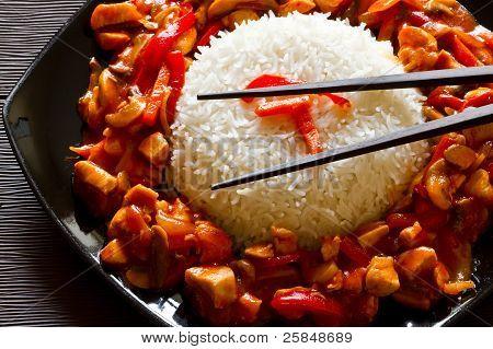 Szechuan chicken and rice