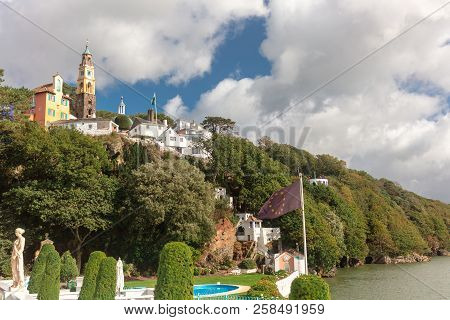 Popular Tourist Resort Of Portmeirion, North Wales, Uk, The Italianate Village Built By Clough Willi