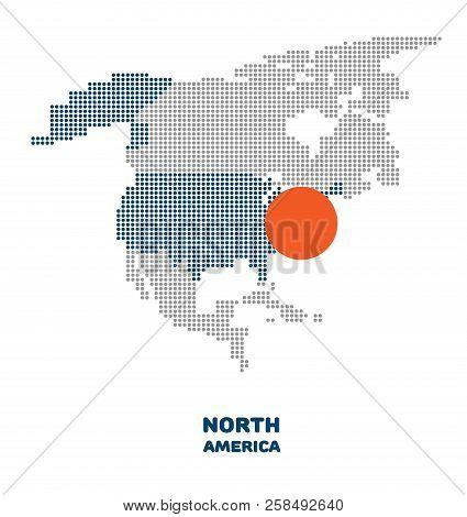 Dotted North America Map. Vector Map Of The North America With Element Of Infographic. Modern North