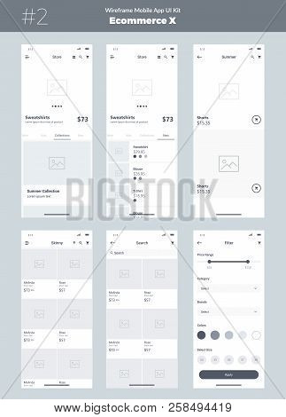 Wireframe Kit For Mobile Phone. Mobile Application Ui, Ux Design. New Ecommerce Screens: Store, Cate