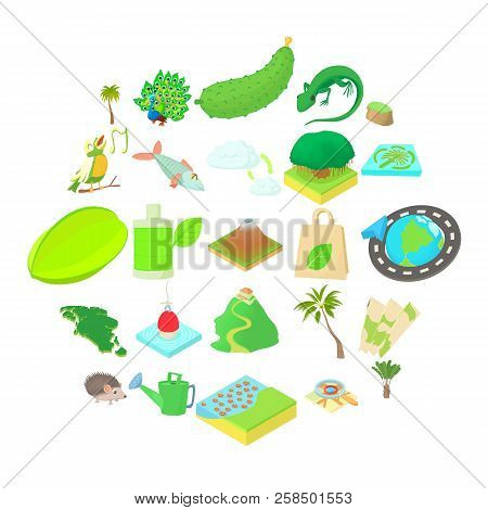 Hiking Trails Icons Set. Cartoon Set Of 25 Hiking Trails Vector Icons For Web Isolated On White Back