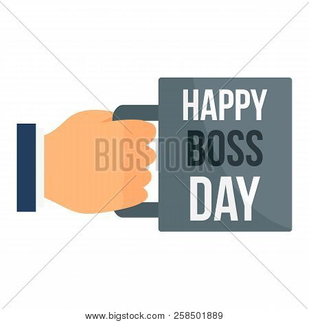 Happy Boss Day Cup Icon. Flat Illustration Of Happy Boss Day Cup Vector Icon For Web Design