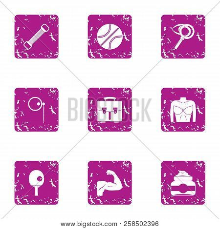 Musculature Icons Set. Grunge Set Of 9 Musculature Vector Icons For Web Isolated On White Background