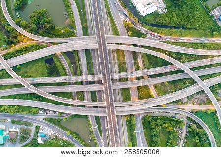Aerial View Transport City Overpass Road With Vehicle Movement
