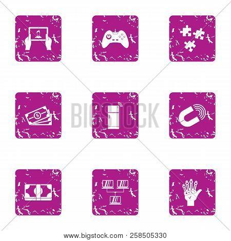 Cash Register Icons Set. Grunge Set Of 9 Cash Register Vector Icons For Web Isolated On White Backgr
