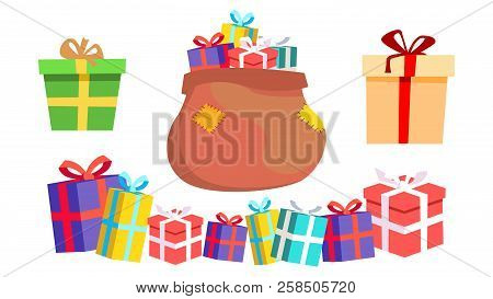 Holiday Present Gift Box Vector. Pile Of Colorful Wrapped Gifts. Packaging. Christmas, New Year Birt